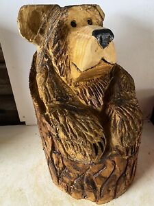 Chainsaw Carved  Bear In Stump Carved Wooden  Bear Carvings