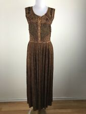 Vintage 1990s Rayon Maxi Dress Size M India Soutache Brown Sleeveless Floral
