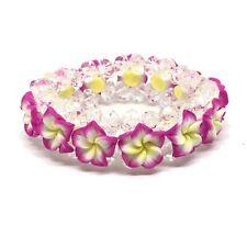 Hawaiian Pink Fimo Plumeria Flower Crystal Bead Elastic Bracelet