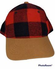 Iconic Buffalo Plaid True Red/Black Flannel Ball Style Cap Hat Tan Bill LNC