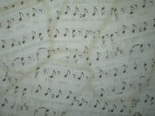 VINTAGE MUSIC NOTES SONGS FRENCH WRITING COTTON FABRIC FQ