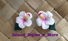 "Hawaiian Hibiscus Flower Fimo Fashion Jewelry Post Earring WHITE PINK 0.5"" inch"