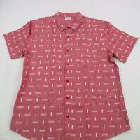 Coca Cola Mens Short Sleeve Shirt Button Front Red Bottle Cotton Pocket XL