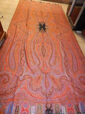 ANTIQUE  1850's  KASHMIR PERSLEY X-LARGE FRENCH HAND LOOMED SHAWL