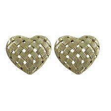Genuine Gold Plated Sterling Silver Woven Crisscross Heart Stud Earrings
