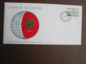 Finland 1978 COINS OF ALL NATIONS cover with 20p coin + stamp