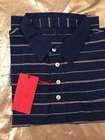NWT Southern Proper Men's Polo Golf Tourney Navy Stripe Shirt Pocket Size XLarge