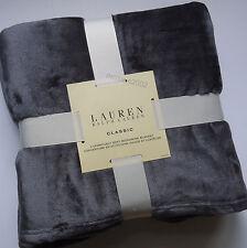 Ralph Lauren Dk Gray Micromink Full Queen Bed Blanket fleece Grey Rl Emb Logo