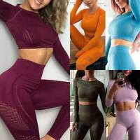 Women's Seamless Yoga Suit Push Up Hip Leggings+Crop Top Fitness Sports Gym Sets