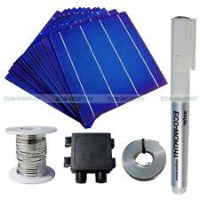 40pcs 6x6 Whole Solar Cells Kit w/Tab, Bus Wire,J-box & Flux Pen for DIY Panel