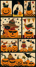 "Pumpkin Halloween Owl Fun Cotton Fabric Blank Textiles Too Cute Spook 24"" Panel"