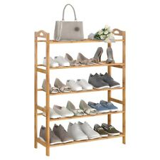 5 Tier Layers Bamboo Shoe Rack Storage Organizer Wood Shelf Stand Plant Shelves