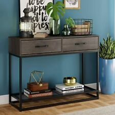 Industrial Console Table, Entryway Table with 2 Drawers and Storage Shelf