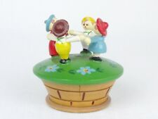 VINTAGE Hand Painted Wood TRINKET BOX Dancing CHILDREN Made In ITALY