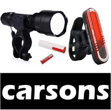 USB rechargeable front head & rear back tail 7 LED bike lights set cree beam