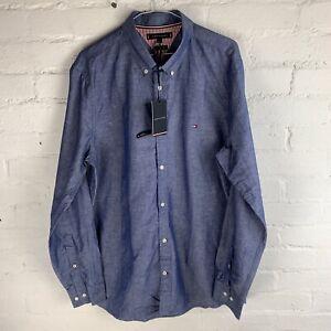 Tommy Hilfiger Slim Melange Cotton Linen Shirt Blue Ink XL