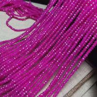 Faceted 2x4mm Natural Magenta Jade Gemstone Rondelle Loose Beads 15'' Strand