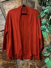 Eileen Fisher Woman Red/orange Open Front LS Cardigan Size 1X (E1)