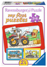 3 x 6 Teile Ravensburger Kinder my first puzzles Bagger Traktor Kipplader 06573
