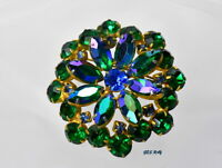 Vintage Blue Green Rhinestone Brooch Pin Juliana style *