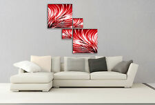 Abstract canvas pictures square 4 panel purple/teal/red/black & white/blue/brown