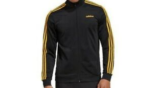 NWT adidas Men's Tricot Track Jacket BLACK GOLD 3 STRIPED