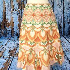 TAHARI Size 6 Linen Cotton A-Line Skirt Orange Green Tile Pattern Lined FLAWED