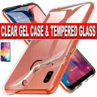Case for Samsung Galaxy A20e A10 Slim TPU Clear Gel Cover Glass Screen Protector