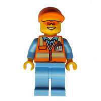 Lego Flughafenmitarbeiter mittelblau Sicherheitsweste Minifigur City cty677 Neu