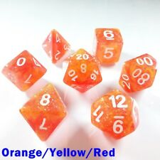 HD Galaxy Poly 7 Dice RPG Set Orange Yellow Red Pathfinder Dungeons Dragons D&D