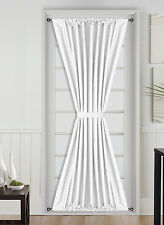 1PC THERMAL BLACKOUT ROD POCKET FRENCH DOOR WINDOW PANEL W/TIE BACK WHITE DAYSI