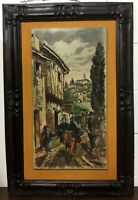 Vintage ARTINI Etched Engraving Hand Painted Art Carvelo Frame Spanish village
