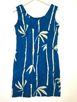 Jams world sleeveless vintage tropical dress blue cream size small