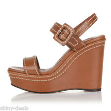 PRADA New Woman Brown Leather Wedge Ankle Strap Sandals Shoes 38.5 Ita $659 SALE