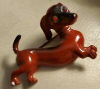 Vintage Jewelry Dachshund Weiner Dog enamel BROOCH PIN Rhinestone eyes