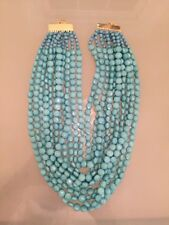 NWOT Multi Strand Turquoise Blue Faceted Bead Statement Necklace
