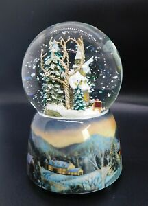 """Ceramic Glass Old Fashioned Christmas Scene Snow Globe Plays """"The First Noel"""""""