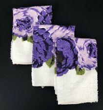 VTG Washcloths Trophy Edition Cannon Mills LOT Cottage Retro Purple Roses Floral