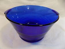 Vintage Cobalt Blue Round Ribbed Handled Serving Bowl