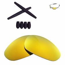 Walleva 24K Gold Polarized lenses + Black Ear socks T-shocks for Oakley Juliet