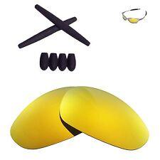 Walleva 24K Gold Polarized lenses + Black Ear socks T-shocks for Oakley Juliet
