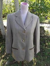 Saks Fifth Avenue Sz 10 Wool Blazer Brown Plaid Houndstooth Button Front Jacket