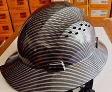 Fiberglass  Full Brim Hard Hat Black/Silver with Fas-trac Suspension