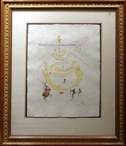 """Salvador Dali """"Masque De La Mort"""" Hand Signed Engraving on Japon paper OBO"""