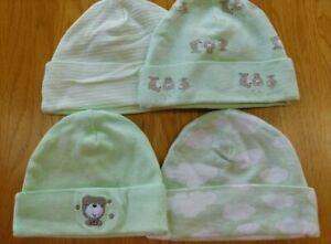 Lot of 4 GERBER Cotton Baby Newborn Hats/Caps Green/Bear Matching 0-6 Months