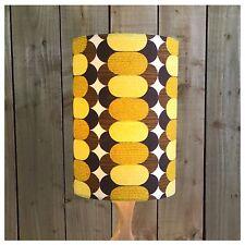 Extra Tall Vintage Retro 70s Yellow & Brown Fabric Lamp Shade Light shade