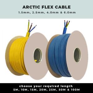 All Lengths Arctic Flex Cable Blue Yellow 1.5mm 2.5mm 4mm 6mm 3183AG 3 Core Flex