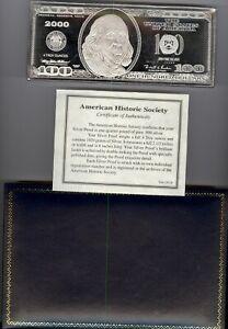4 Troy Ounce $100 Bill Silver Bar