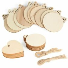 20Pcs Round Wooden Discs Wood Slices Crafts DIY Christmas Ornaments Hang Decor
