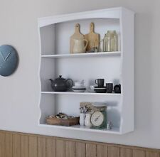 Wall Mounted Shelf Unit White 3 Book Shelves Ideal for Bedroom Kitchen Seconds